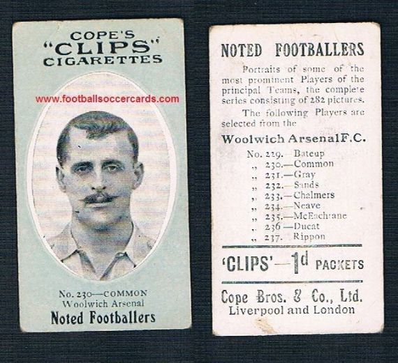 1910 LEGEND! Cope Brothers Noted Footballers Alf Common Blades Boro Sunderland Woolwich Arsenal 230